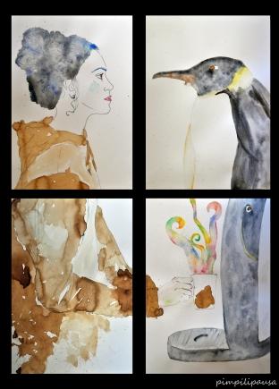 """""""Invierno"""" Café y acuarela sobre papel. 4* 29,7×42 cm. Print Din A5, 5€. Din A4, 10€. Din A3, 15€"""