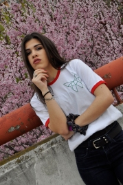 Camiseta algodón manga corta con Pimpi bordada a mano